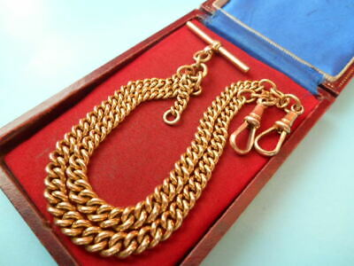 ANTIQUE 16inch ROLLED GOLD DOUBLE ALBERT CHAIN NOT SCRAP 31gms