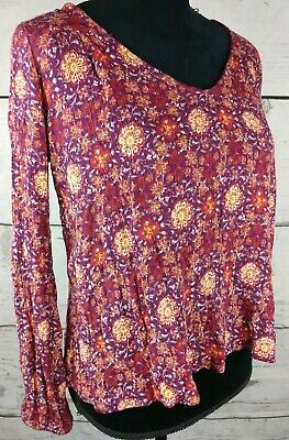 Gypsies & Moondust Top Womens Small Cut Out Back Long Sleeve Floral Boho Wine