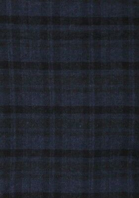 "HAND DYED RUG HOOKING WOOL Mill-Dyed APPLIQUE ""MIDNIGHT BLUE PLAID"" 1/4"