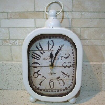 Shabby Chic Vintage Style - Cream - Metal Mantle Pocket Watch Clock - NEW