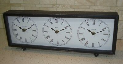 Shabby Chic Vintage Style - London Paris New York - Metal Mantle Clock - NEW