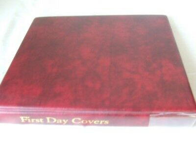 Maroon First Day Covers Stamp 4 Ring Album & Leaves