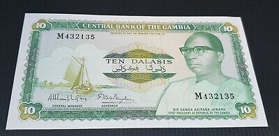 Gambia 10 Dalasis P 10a ND Combine FREE! UNC Low Shipping 1987-90 P 10 a