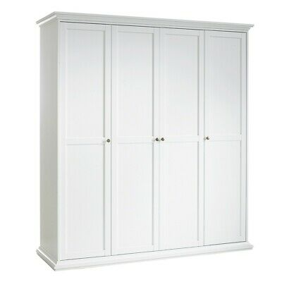 Paris Large Retro French Style Wardrobe with 4 Doors in White Bedroom Furniture