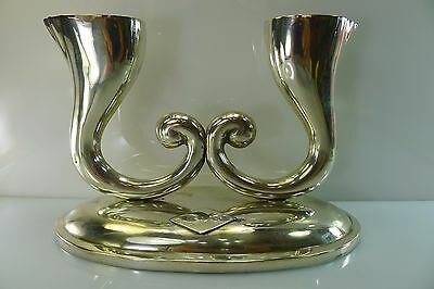 ANTIQUE/VINTAGE ART DECO SOLID 317 g. SILVER 833 LG STAMPED CANDLE STICK HOLDERS