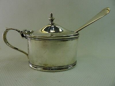 antique 83 grams English sterling, hinged lid mustard pot / spoon & cobalt glass