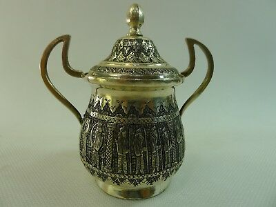 antique Islamic highly detailed raised decoration 135 g. silver lidded dish/ pot