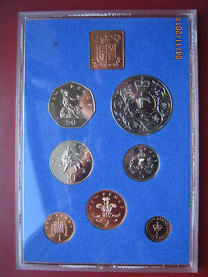 UK British 1977 Proof 7 coin Royal Mint set 1/2 - 50 Pence Silver Jubilee Crown
