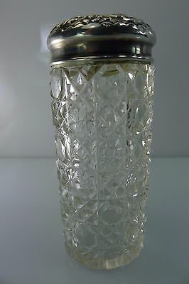 Old English Empty Small Glass/Crystal Bottle With A Silver Lid & Rim