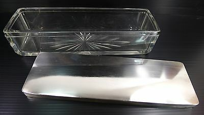 RARE ANTIQUE AUSTRIAN SOLID CRYSTAL GLASS BOX WITH A SOLID SILVER 800 116 g. LID