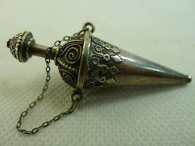 rare antique made in Palestine silver filigree decorated pendant perfume bottle