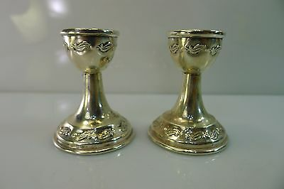 Small Rare Pair Of 0Ld Silver 800 Candle Stick Holders