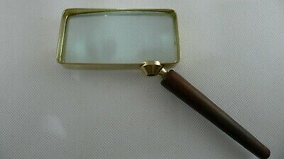 Rare Vintage W. Germany Eschenbach Brass & Wood Hand Held Magnifying Glass