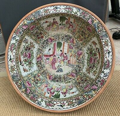 IMPRESSIVE ANTIQUE 19th CENTURY CHINESE CANTON FAMILLE ROSE PORCELAIN BOWL 16""