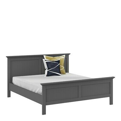 Paris Retro French Style Super King Size Bed Frame Bedstead (180 x 200) Grey