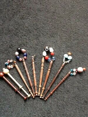 9 Antique Turned Wood Lace Makers Bobbins 2 With Pewter Decoration.