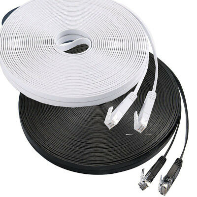 FLAT Ethernet Cable FAST CAT6 RJ45 Network Patch Lead 25cm to 40m LOT