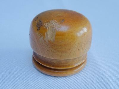 Antique Watchmakers Box Victorian Turned Boxwood Treen  Lidded Storage Pot