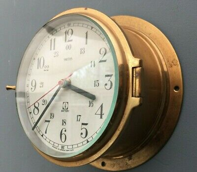 ** Vintage Smiths Marine Ships Bulkhead Brass Clock **  Good Quality **