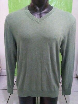 Mens Nautica Luxury Performance V Neck Sweater Green L/S Cotton Modal Large