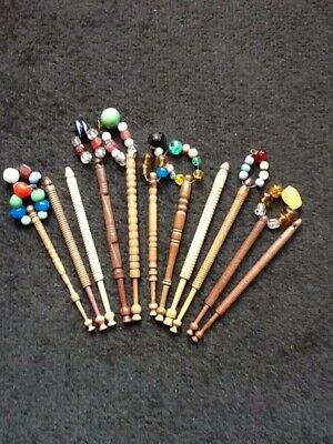 11 Antique Turned Wood Lace Makers Bobbins
