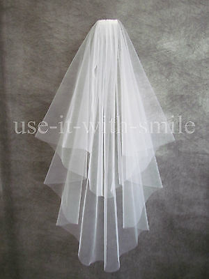 """Bridal 2 Tier Ivory Wedding Fingertip Veil With Comb 72"""" Cut Edge NEW  UK"""