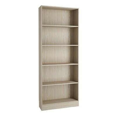 Basic Tall Large Wide Bookcase Shelving Unit (4 Shelves) in Sonoma Oak