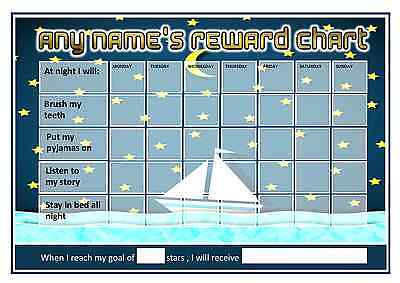 Personalised Bedtime Reward Chart - Boat at Night  - Pen and 2 Stickers