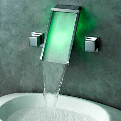 Color Changing LED Lighted Wall Mounted Waterfall Sink Faucet for Bathroom Tap