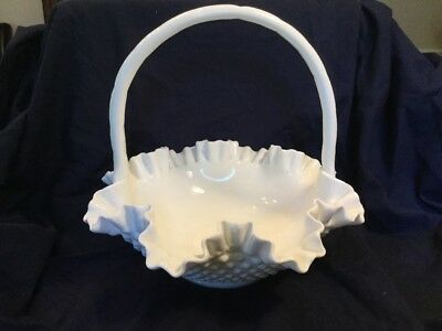 Fenton 1950s Large Milkglass Bowl In Hobnail With Ruffled Edge And Handle