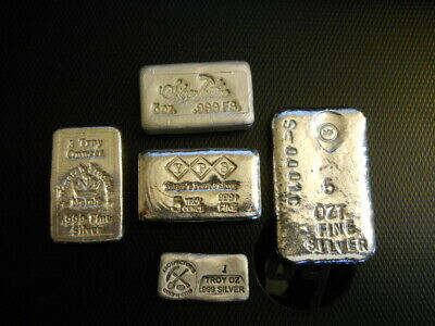 19 Troy oz lot of select hand poured silver bullion in varying weights