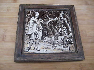 Victorian Minton Moyr Smith Fortunes Of Nigel Waverley Novels 6 Inch Tile Framed