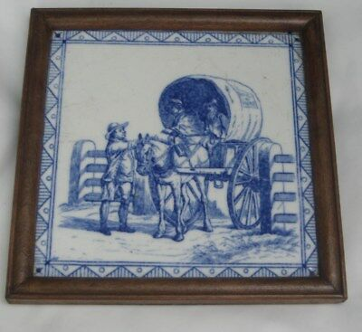 ANTIQUE MINTON BLUE & WHITE TILE trades occupations series 1880S HORSE & WAGON