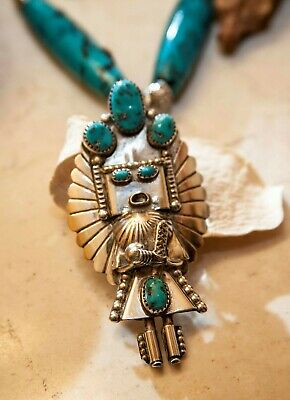 "Sterling Silver Kingman Turquoise Navajo Kachina Necklace - ""Katsina"""