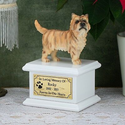 Solid Wood Dog White, Cremation Urn / Casket, Cairn Terrier