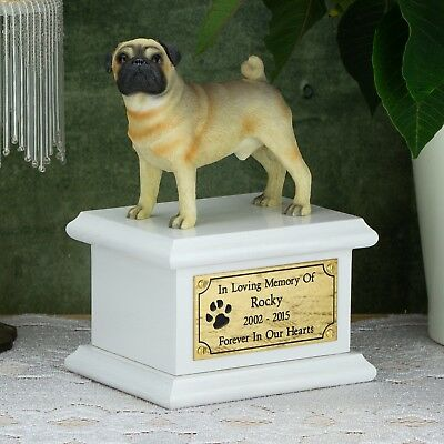 Solid Wood Dog White, Cremation Urn / Casket, Pug