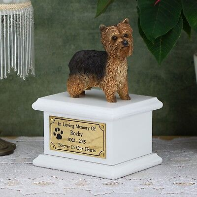 Solid Wood Dog White, Cremation Urn / Casket, Yorkshire Terrier