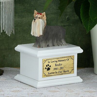 Solid Wood Dog White, Cremation Urn / Casket, Yorkshire Terrier Long Hair