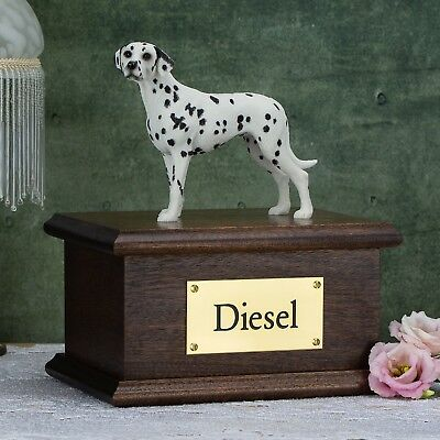 Solid Wood Mahogany Dog, Dalmatian, Cremation Urn / Casket
