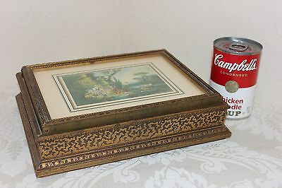 "Antique Wooden Jewelry Box with Mirror, Beautifully Carved, 9-11/16"" x 7-5/8"""