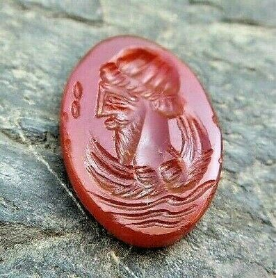 OLD Carnelian Roman Intaglio Side Face God with Long Beard and Wings Stamp Stone