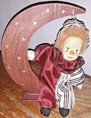 Crying Sitting Clown Wooden Ornament Crescent Moon And Stars Vg Collectible