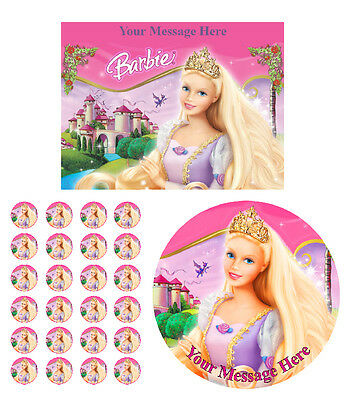 Barbie Personalised Edible Icing & Wafer/Ricepaper Cake & Cupcake Toppers