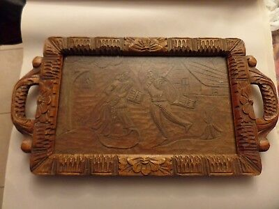 """ANTIQUE CARVED WOODEN TRAY 13""""x24"""""""