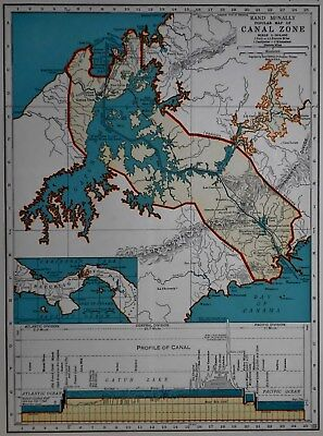Vintage 1940 World War WW II Era Atlas Map Panama Canal w/ Profile & Hawaii L@@K