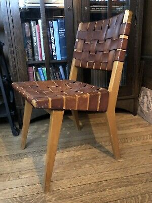 Period Mid Century Modern 666 Chair KNOLL Jens Risom Leather Maple Eames Era