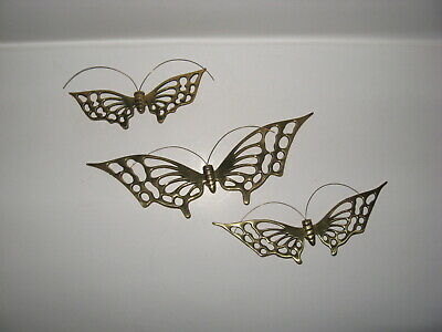 Vintage Set 3 Brass Butterfly Wall Hangers