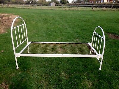 Bed Cast Iron Victorian Antique Hospital Single Cream Ivory Metal Frame Wrought
