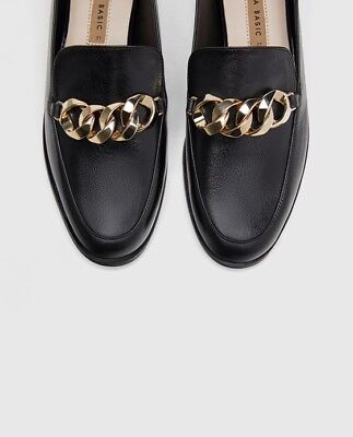 c91a6903b8b Bnwt Zara Black Leather Loafers With Chain Detail Uk Size 6 Eur 39 Bloggers  Fave