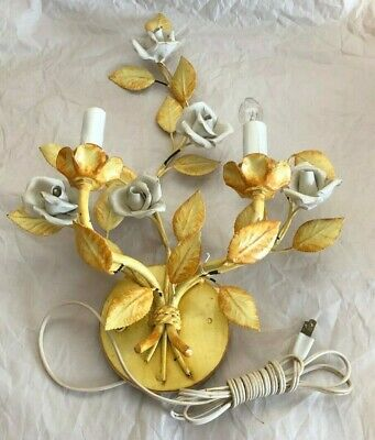 Vintage Metal Yellow Leaves And White Flower  Iron Wall  Sconce
